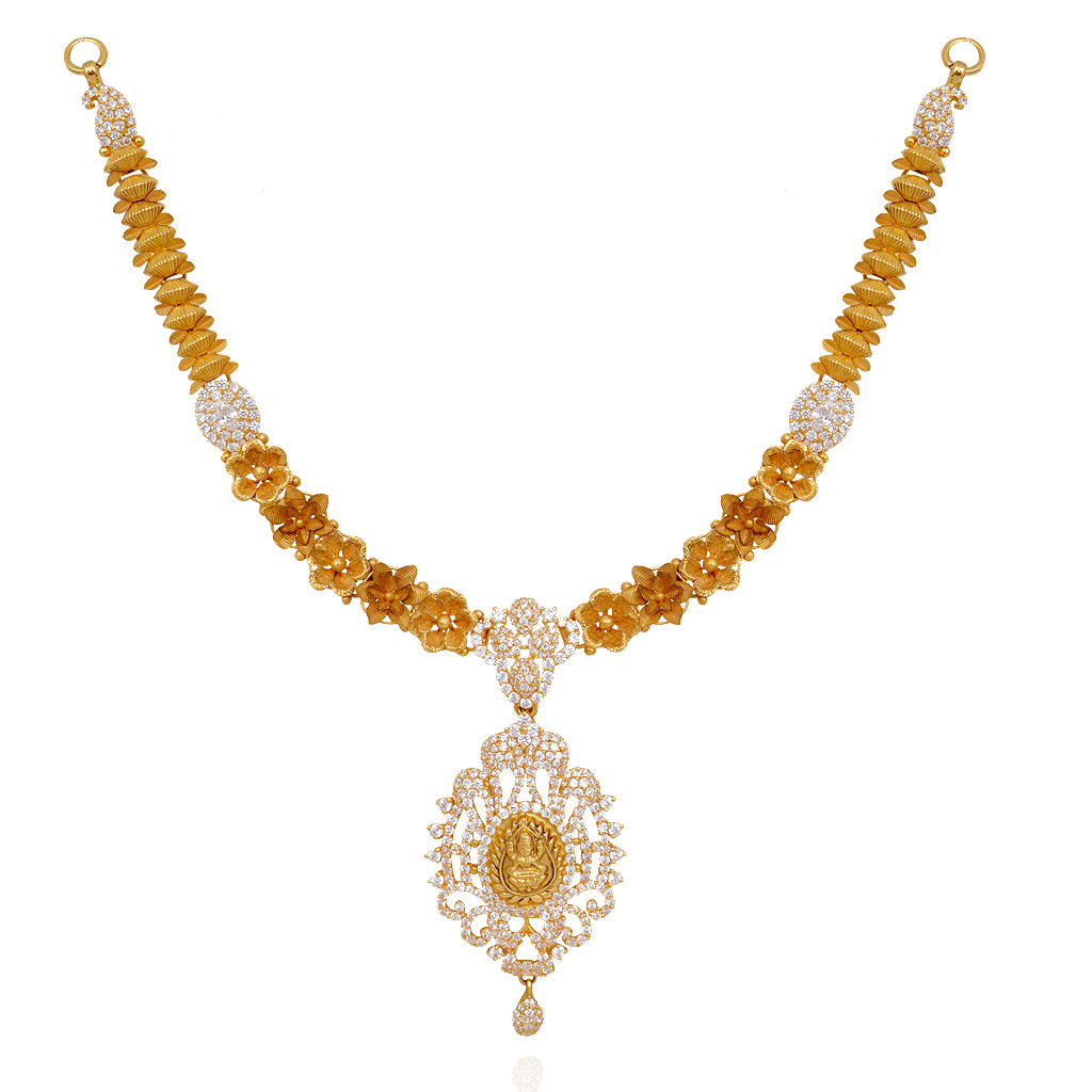 Gold necklace designs in grt jewellers - 22kt Fancy Flowers With Lakshmi Pendant Gold Necklace