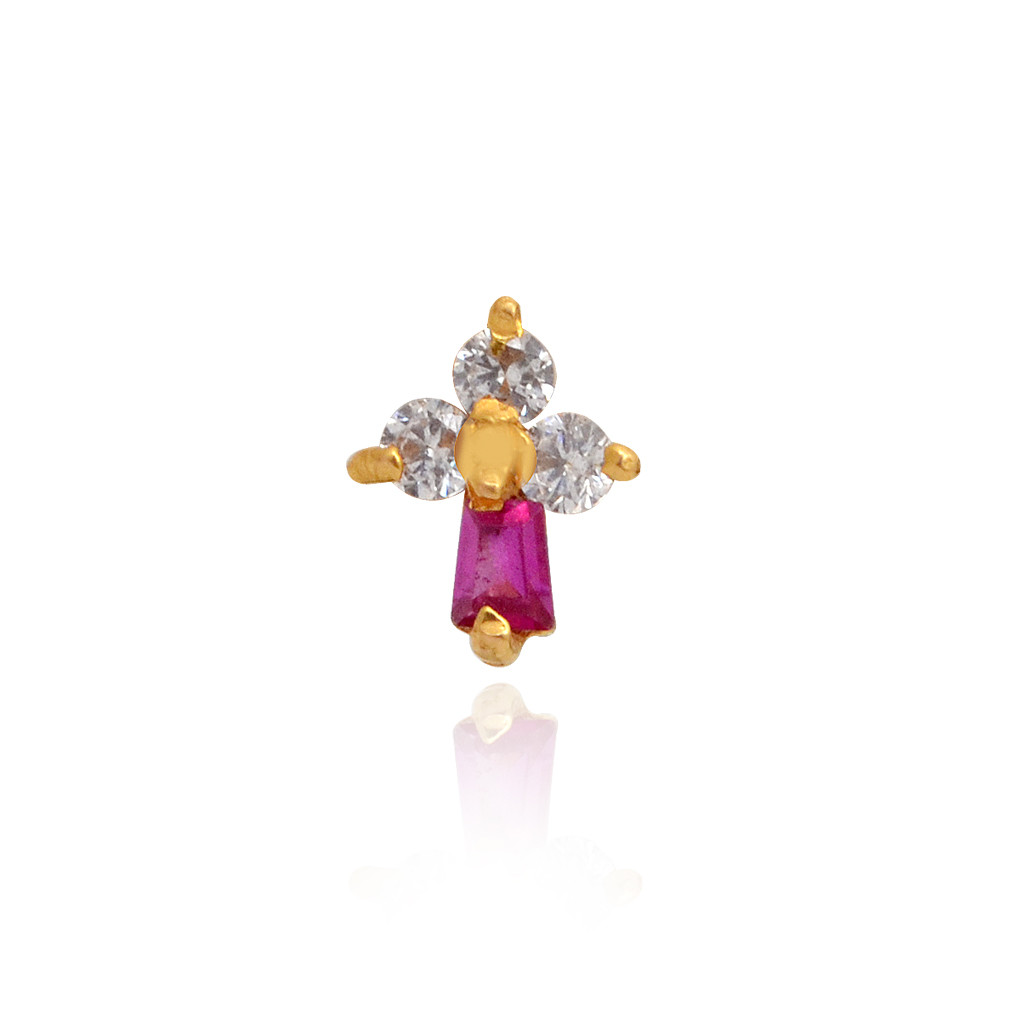 Elegant red Crystal 3 Stones Gold Nose Pin