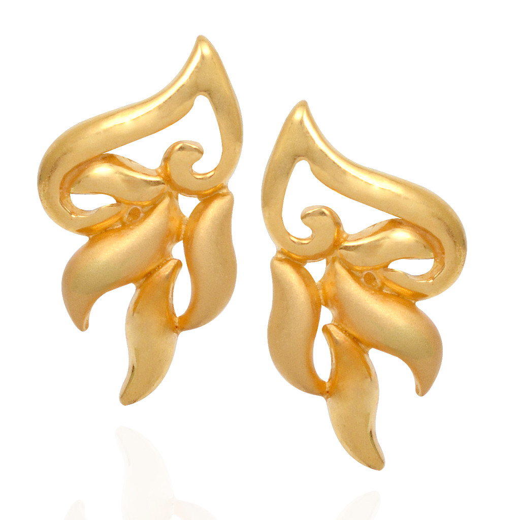 Music Sign with Wave Drop Gold Casting Earring