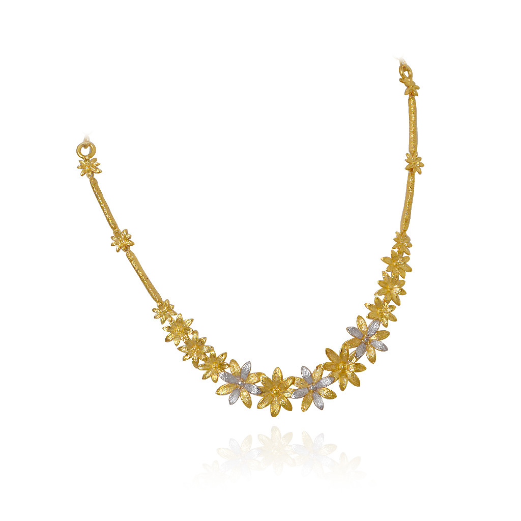 Gold necklace designs in grt jewellers - Flower Link Gold Necklace