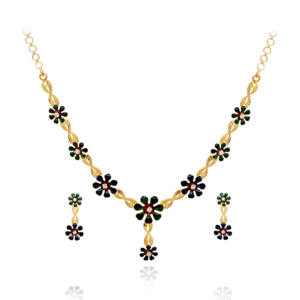 Blossom Colour Flower 22KT Gold Necklace