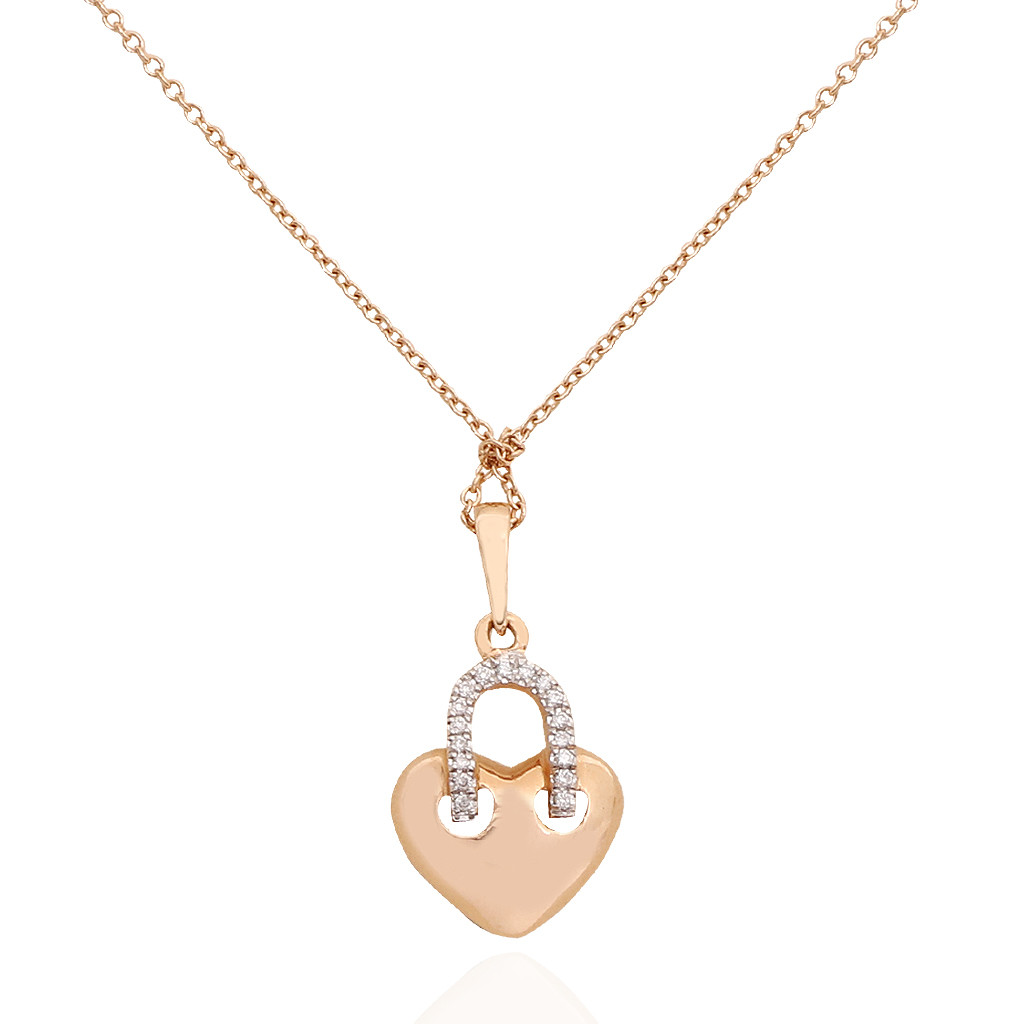 Diamond Heart Lock Pendant