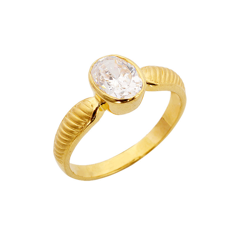 Rings Oval Shape Single Stone Gold Ring Grt Jewellers