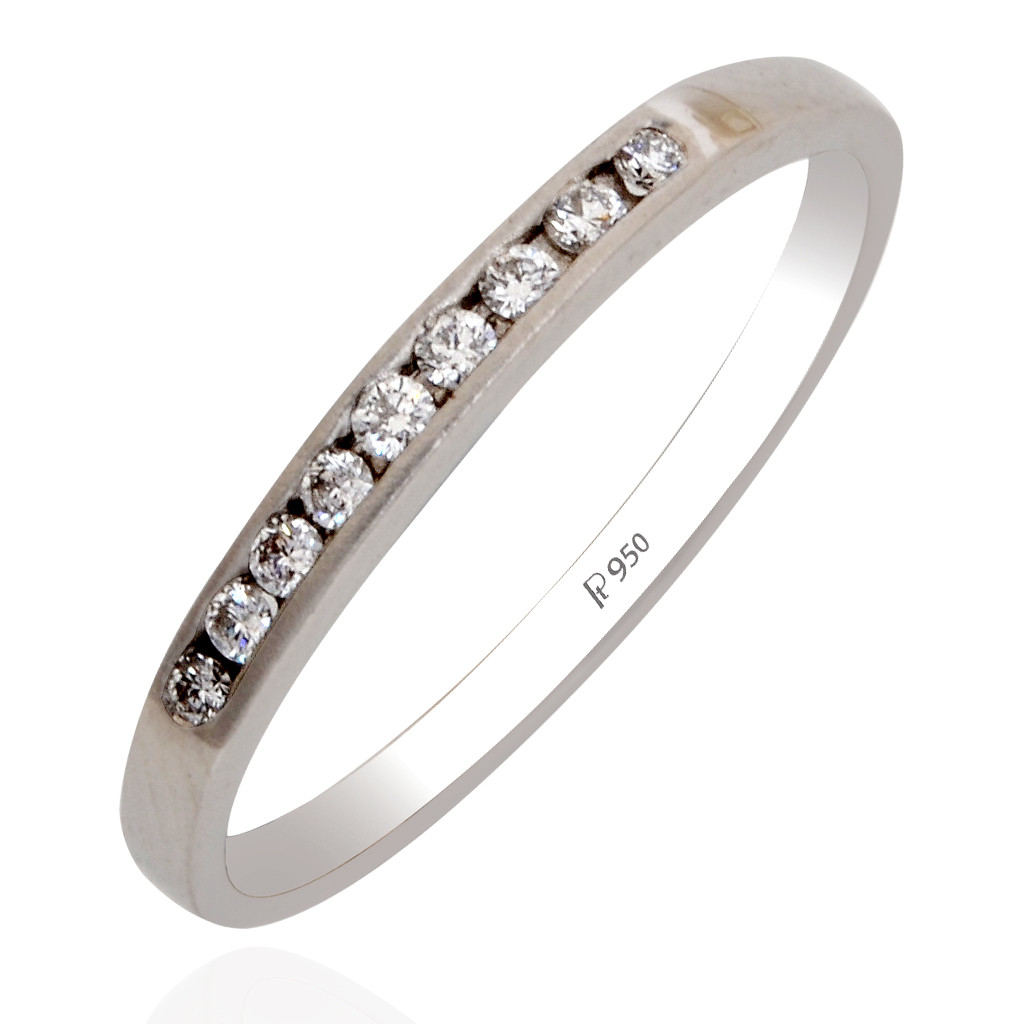 Platinum Band With Channel Setting Ring