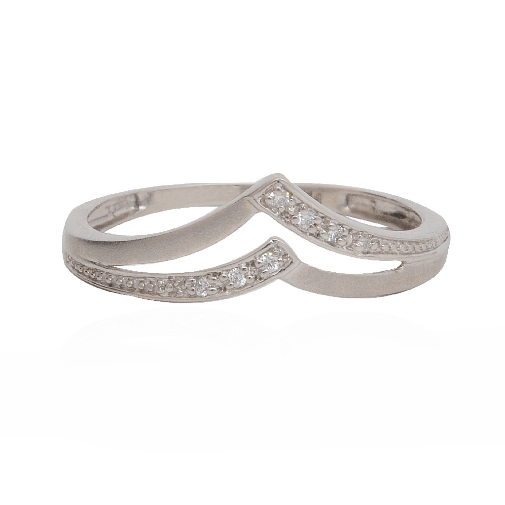 Double Layer Platinum Wave Ring
