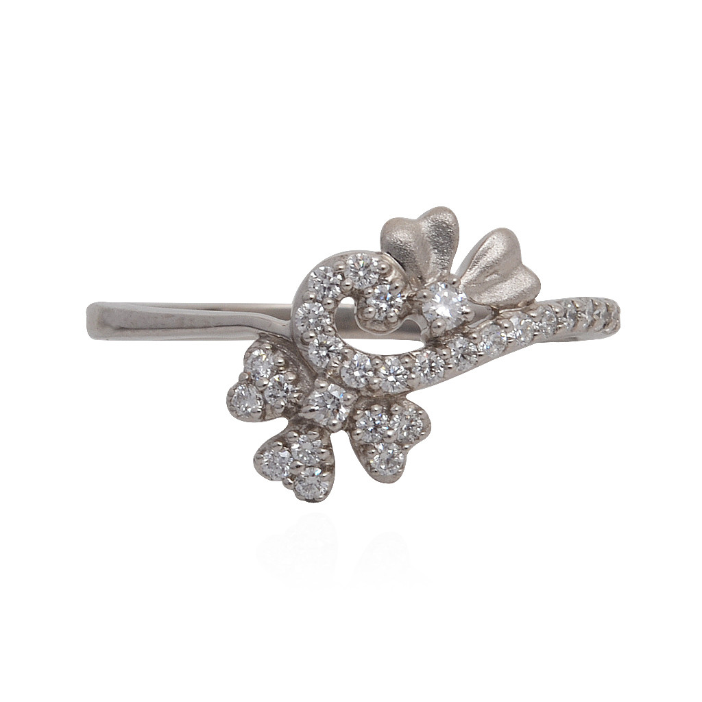 Twisted Floral Platinum Ring