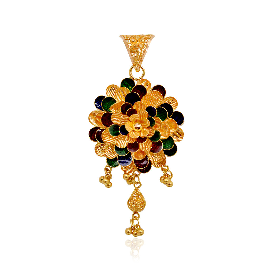 Dancing Balls With Colourful Flower Gold Pendant Set