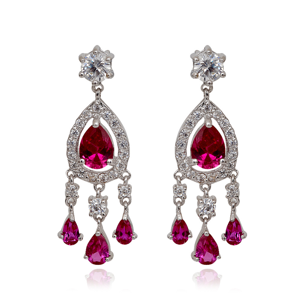 Dancing Pink Drops With White Stones Studded Silver Earrings