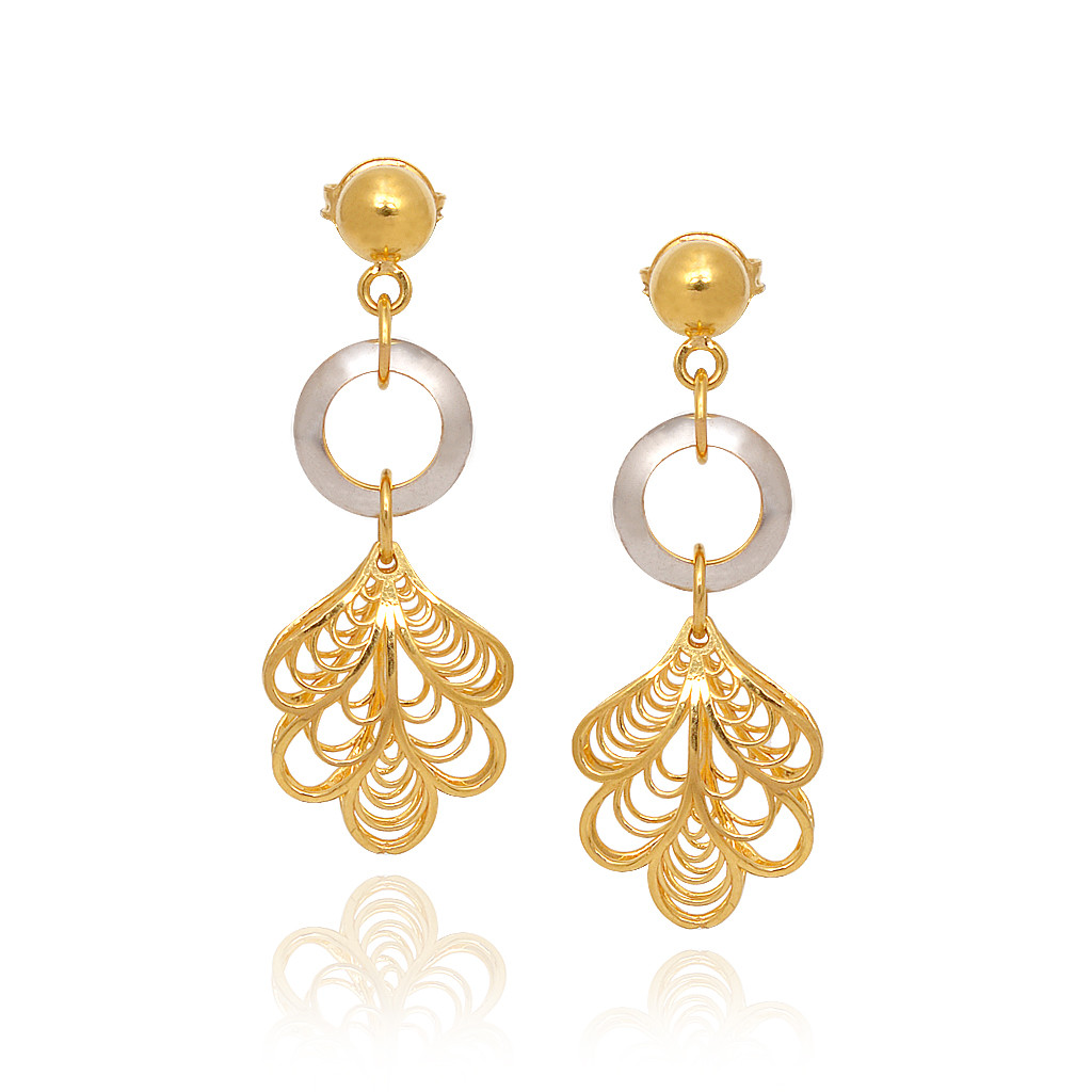 Duo Tone Leaf Droping Gold Pendant Set
