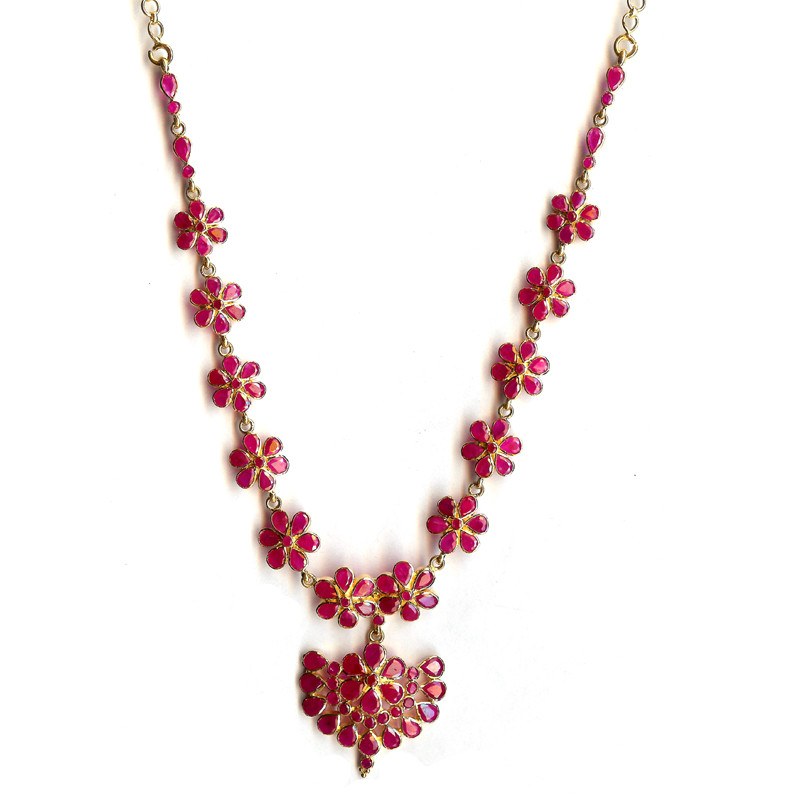 Five Petal Flower Delicious Ruby Necklace