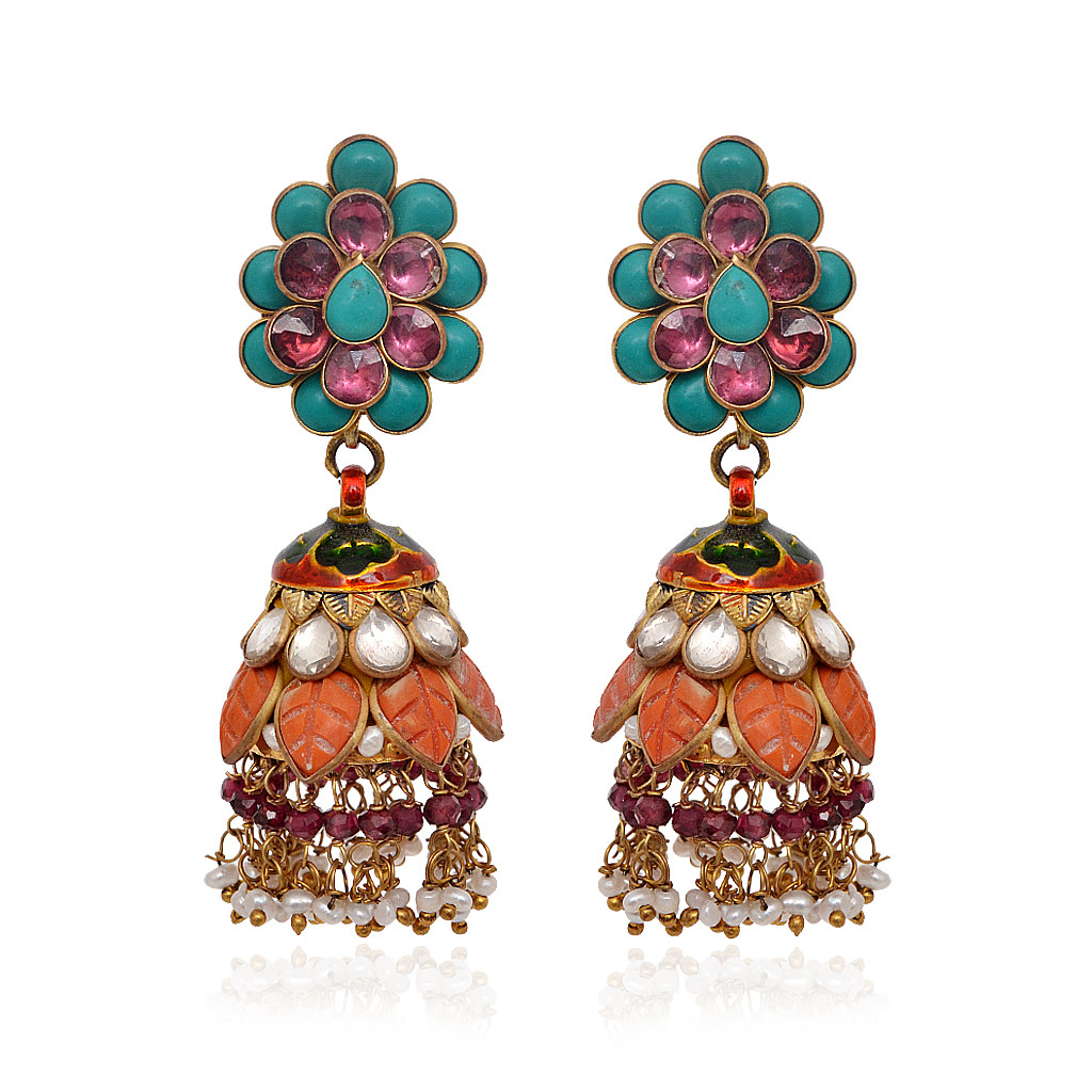 Colour Flower With Pearl Beads Silver Jimmiki