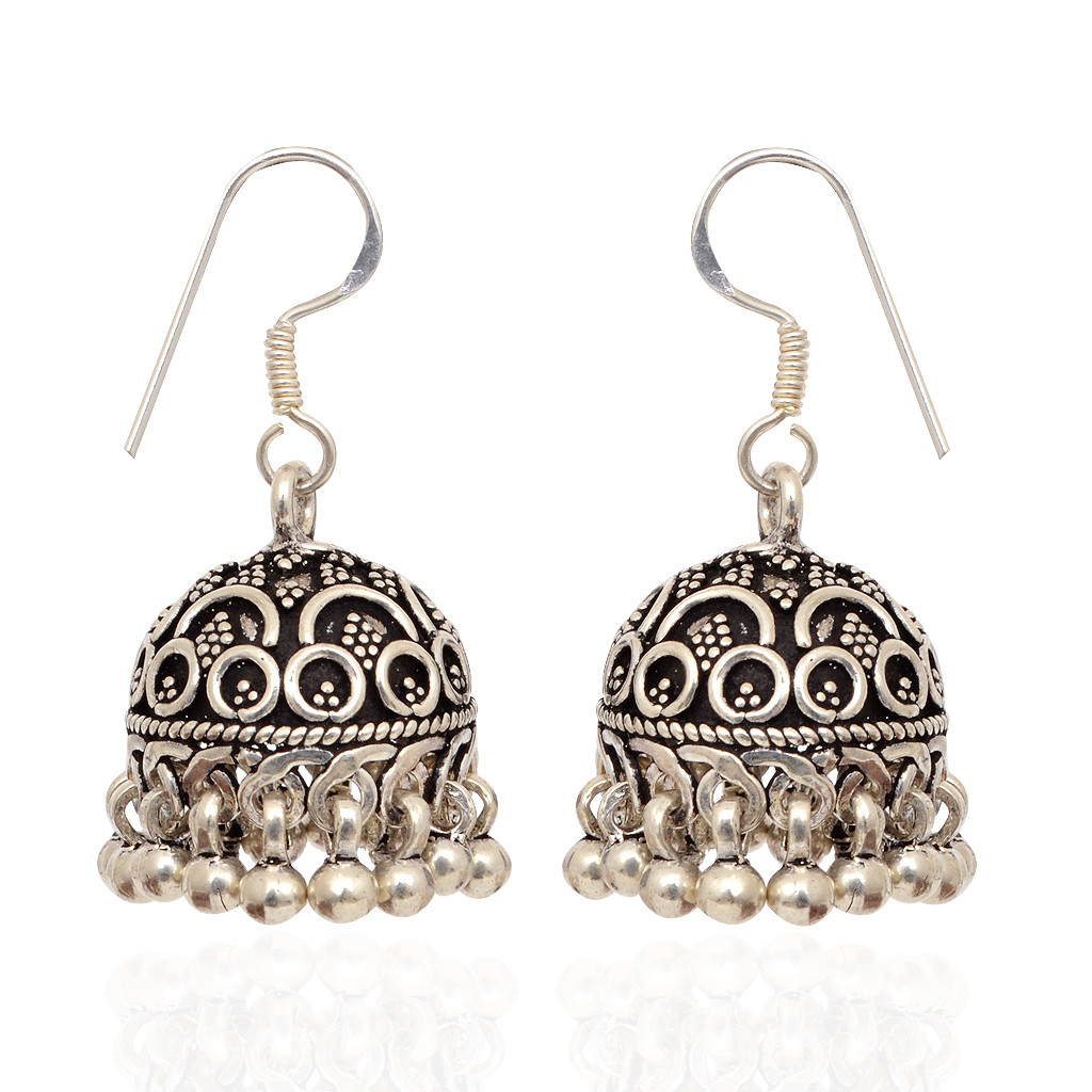 jhumki earrings 925 silver hook with antique finishing
