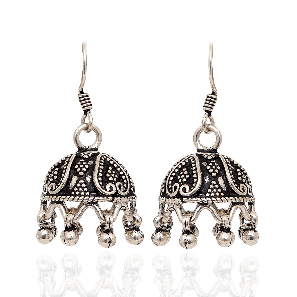 925 Silver Hook With Antique Design Silver Earrings