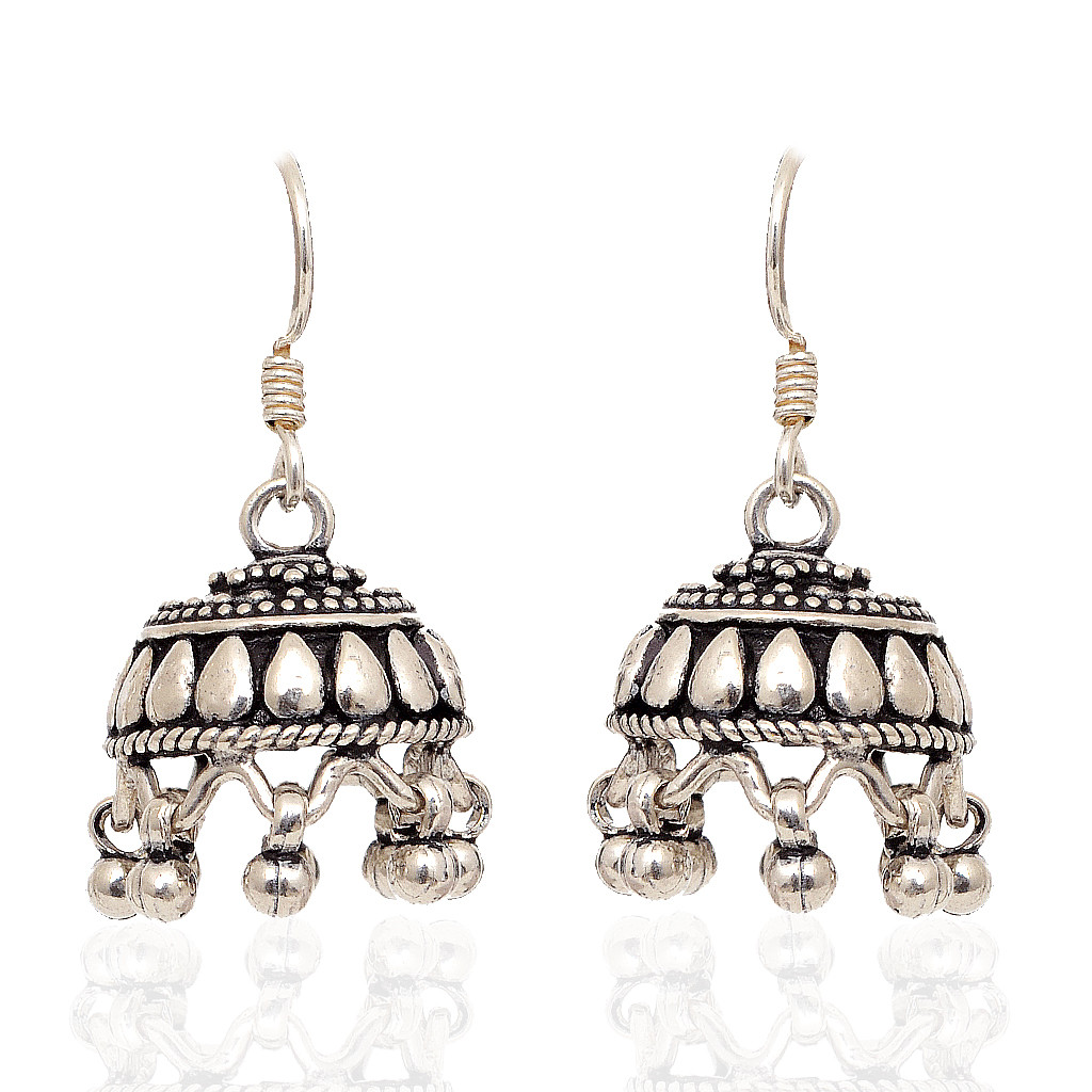925 Silver Ball With Pear Design Earrings