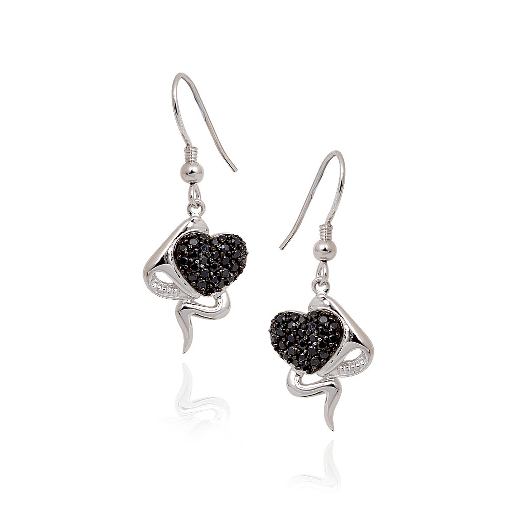 Stylish Silver Hook Earrings With Black Hearts