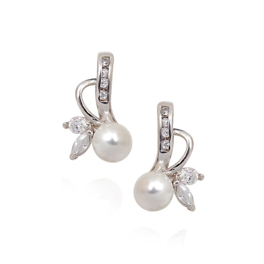 Pearl Fruit With White Stone Leaves Silver Earrings