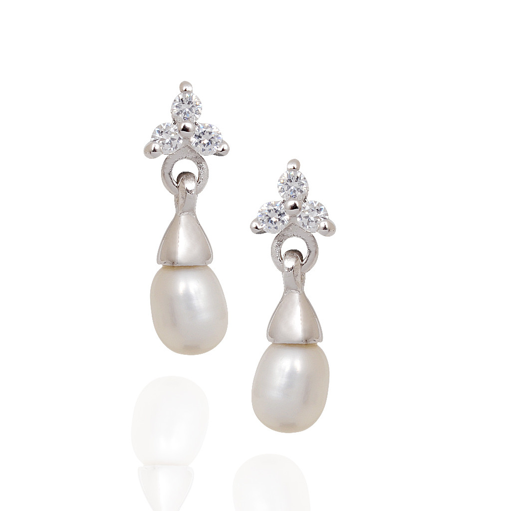 Hanging Pearl Three Stone Silver Earrings