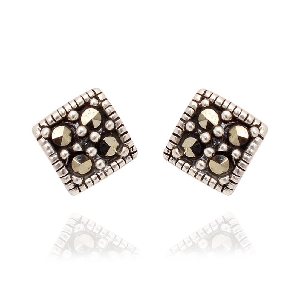 Square Shape Antique Finish Silver Earrings