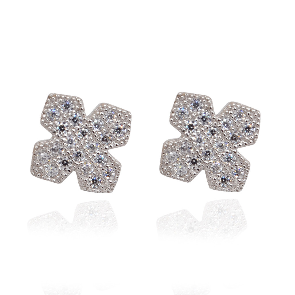 Cross Shape Silver Earrings With White Stone Studded