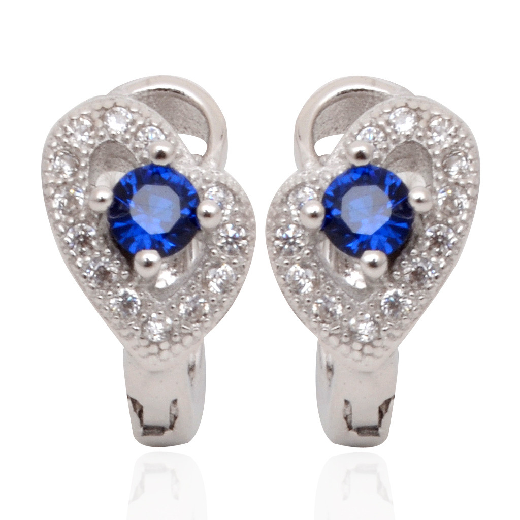 Centered Blue Stone Studded Heart Silver Earrings