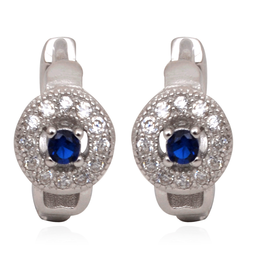 Centered Blue Stone With Round Shape Silver Earrings