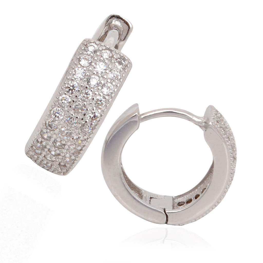 Sterling 3 Layer Row Silver Earrings