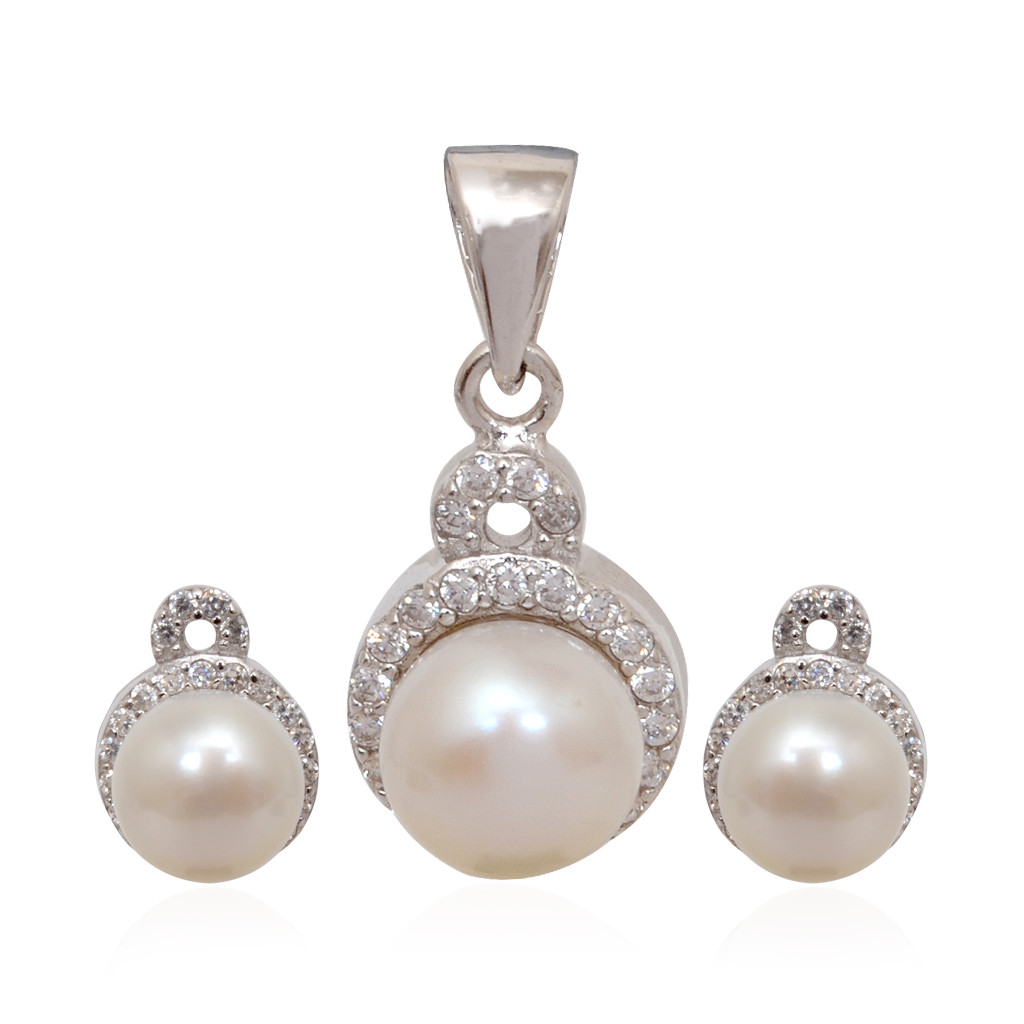 Fancy Pearl Ball With White Stones Layer Silver Pendant Set