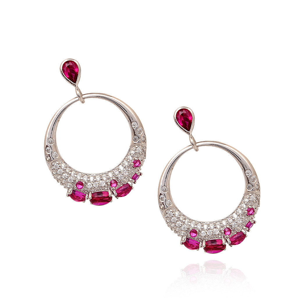 925 Matt Finish With Pink Stone Silver Hoop Earring