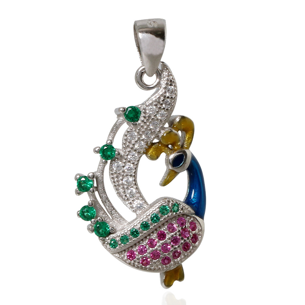 Dazzling Enameled Peacock Silver pendant Set