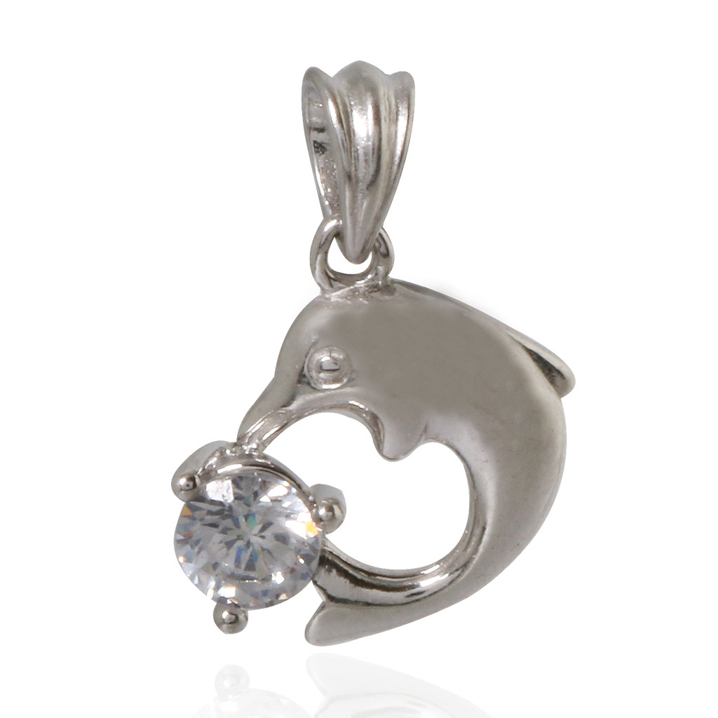 Stone Studded Dolphin Silver Pendant