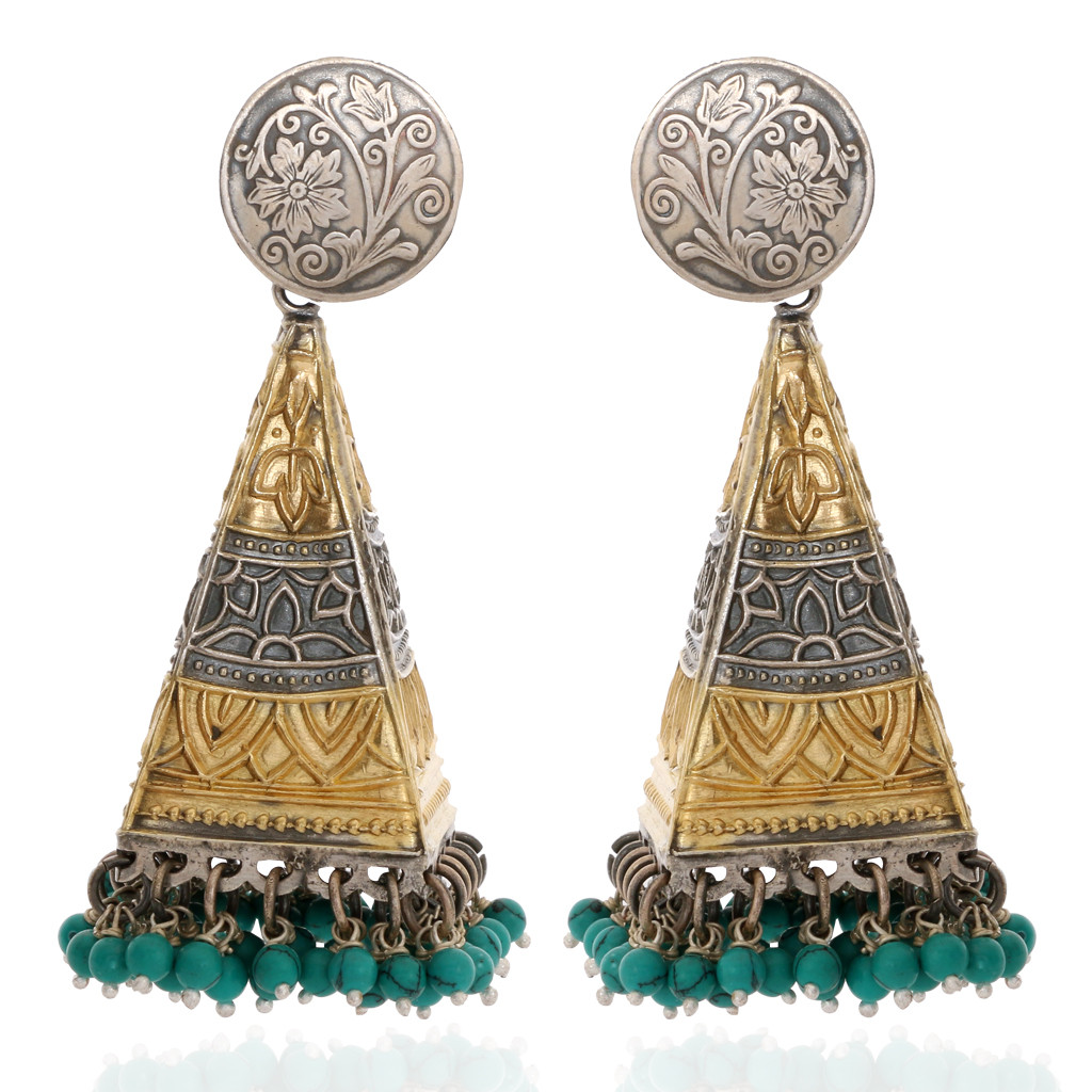 The Fusia Antique Silver Cone Earrings