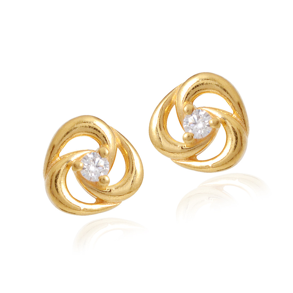 Single Stone Gold Knot Earrings for Kids