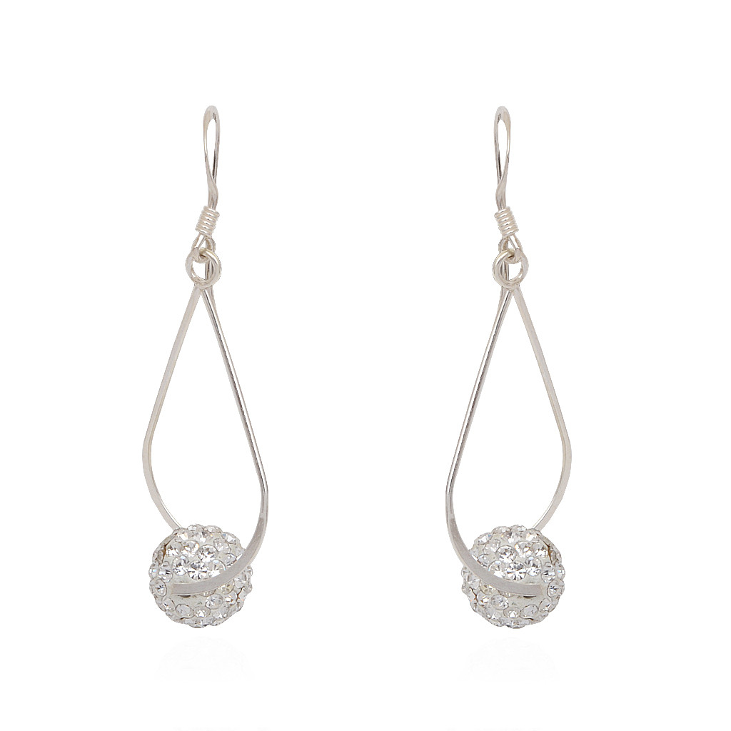 925 Gergeous Silver Earrings With Hanging White Ball