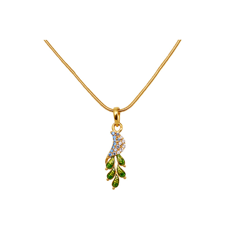 Enameled Leaf Pendant Necklace