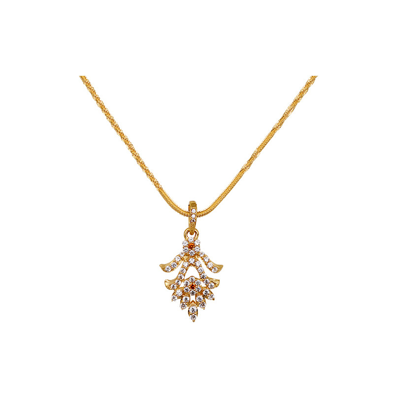 Floral Design Stone studded Gold pendant