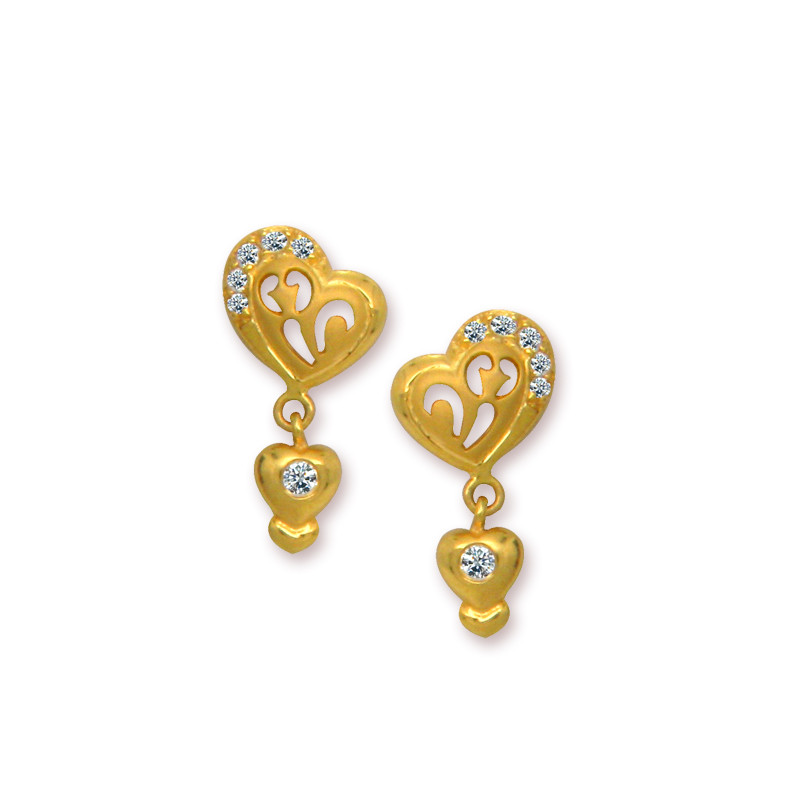 Artisan Crafted Heart Gold Earrings