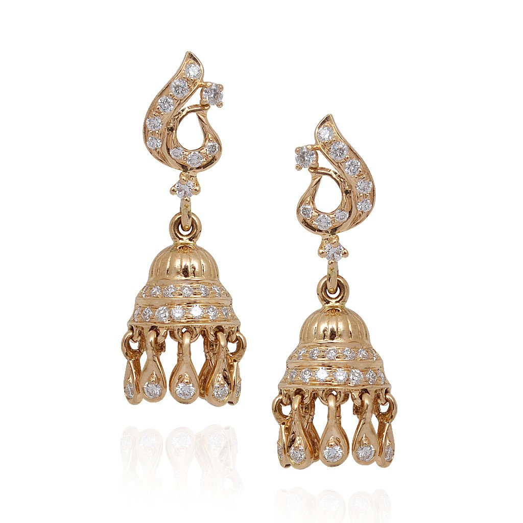 Elegant Pear Drop With Diamond Studded Jimmiki