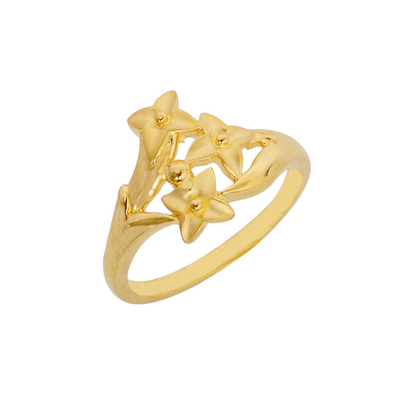Tri Flower Gold Ring