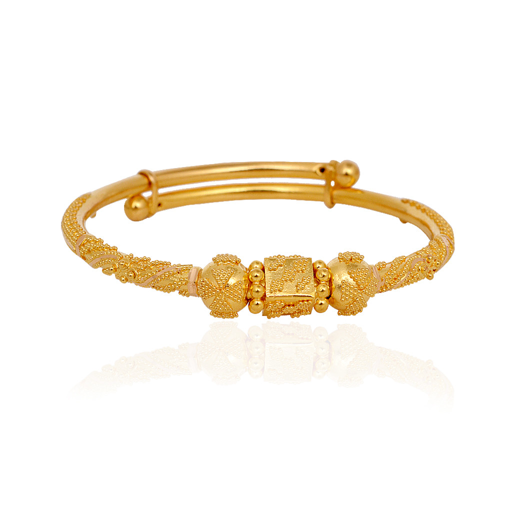 Blossom Gold Ball Baby Adjustable Gold Bangle