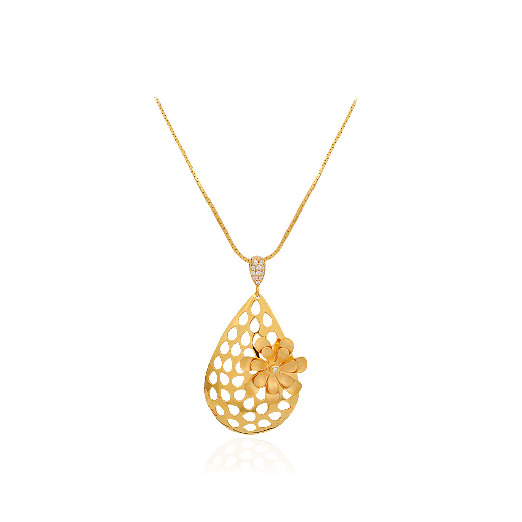 22KT Pear Drop With Yellow Flower Gold Chain