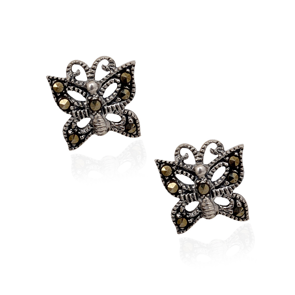 Blossom Blacky Butterfly Silver Earrings