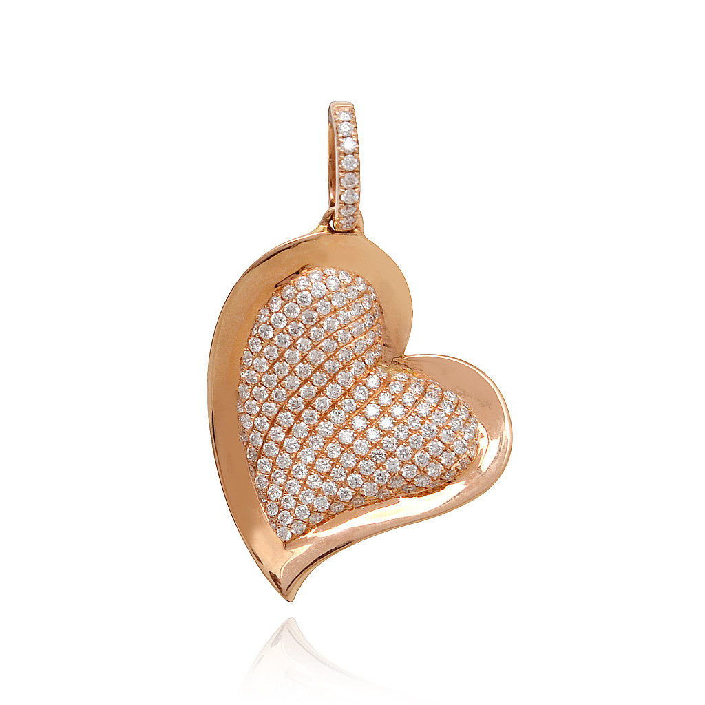 Fancy Heart With Pave Set Finishing Diamond Pendant