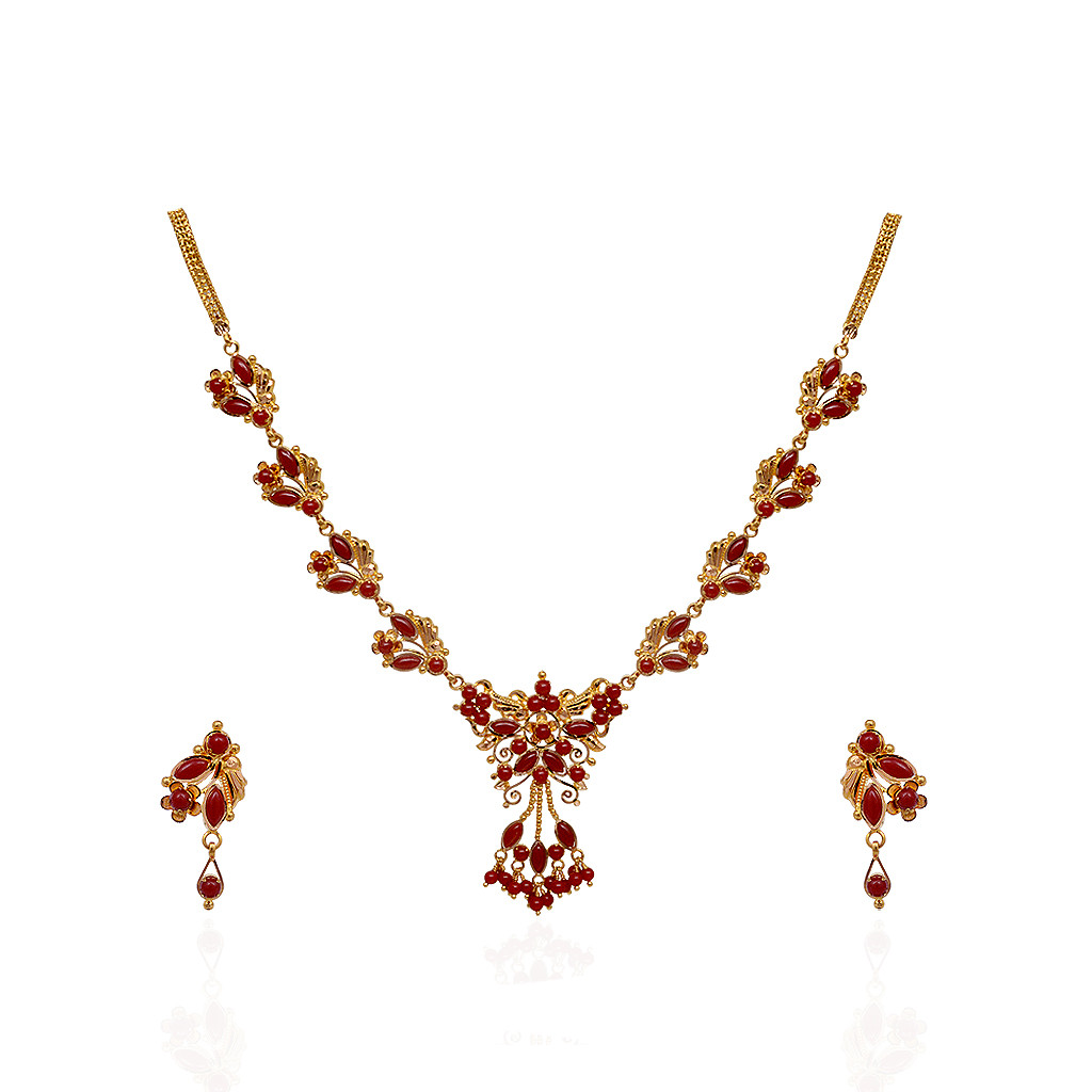 22 Kt Gold Fancy Coral Necklace