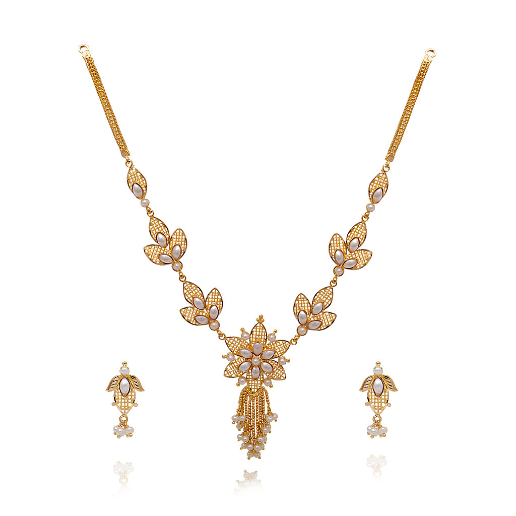 Coral Amp Pearl Lotus Blossom Gold Necklace With Pearl