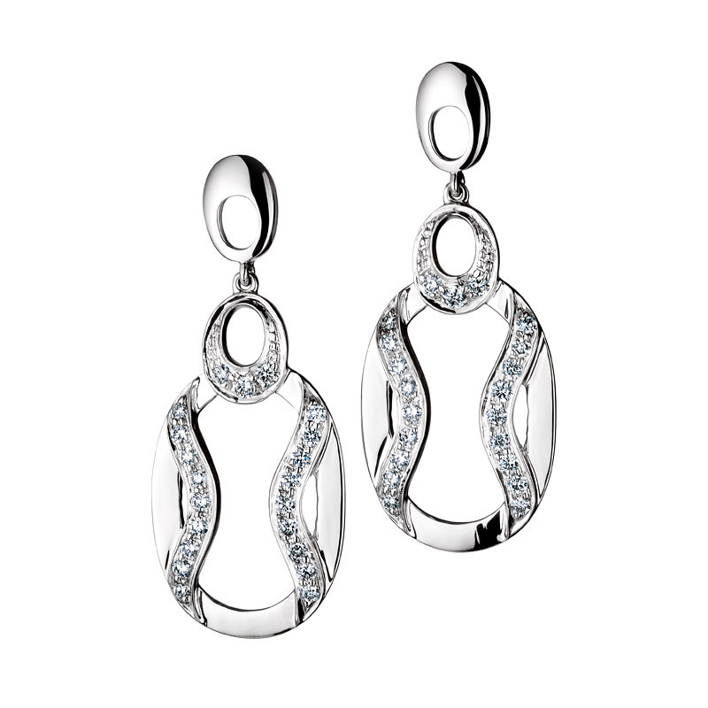 Fancy Pave Oval Drop Platinum Diamond Earrings