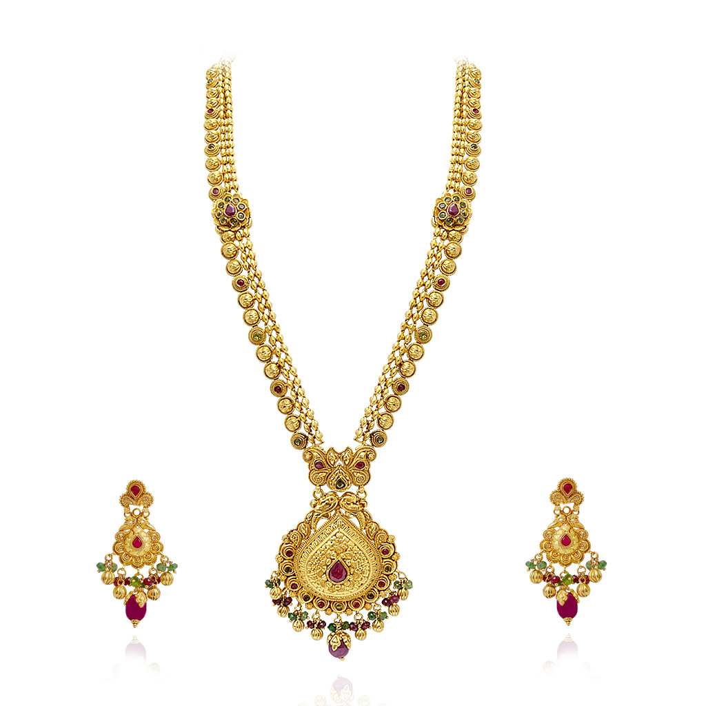 Ethnic Indian Jewelry Gold Necklace Set
