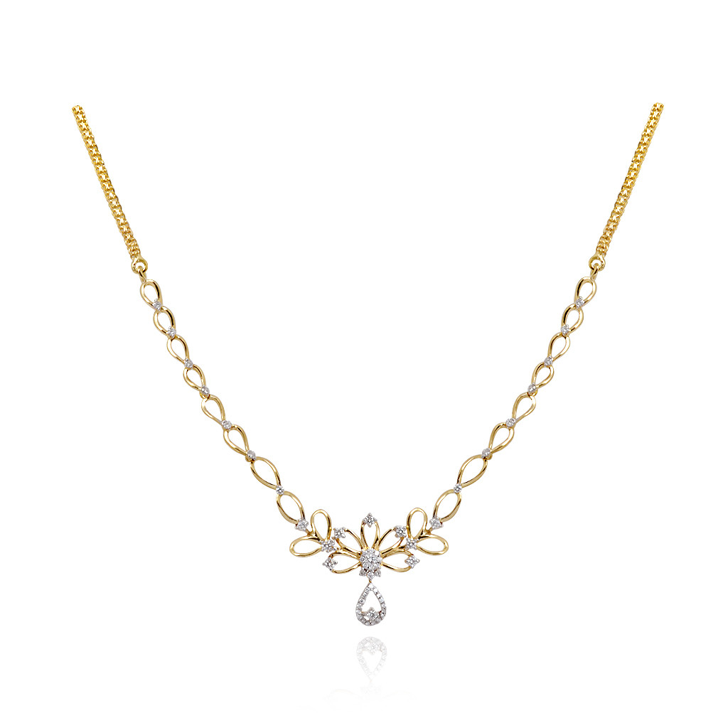 Deco Diamond Necklace in 18 kt Yellow Gold