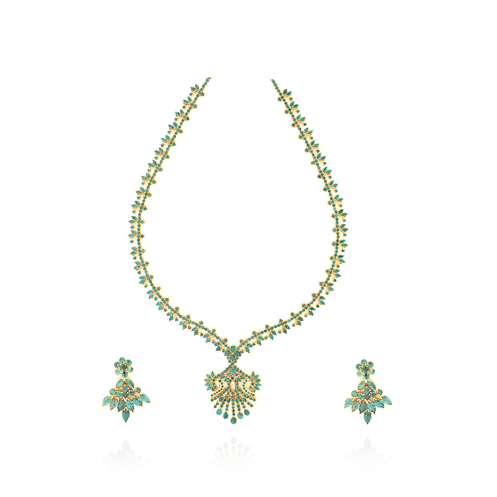 Traditional Indian Bridal Emerald Necklace Set