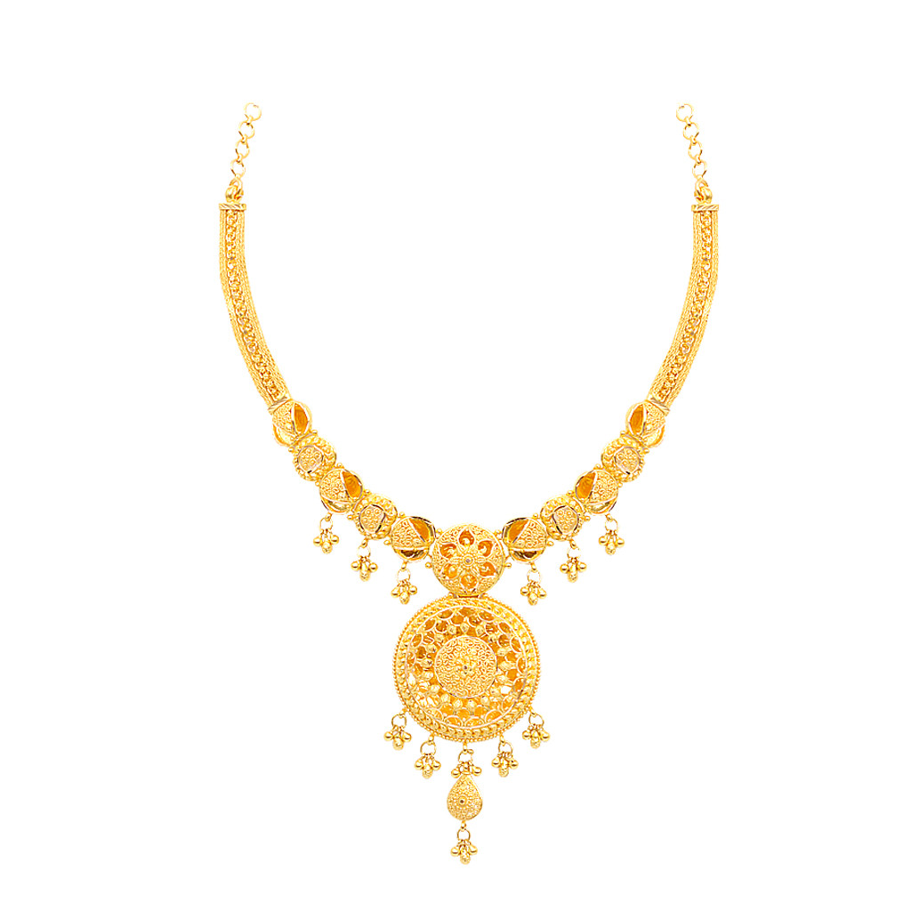 Round Shape With Centered Flower Design Gold Necklace
