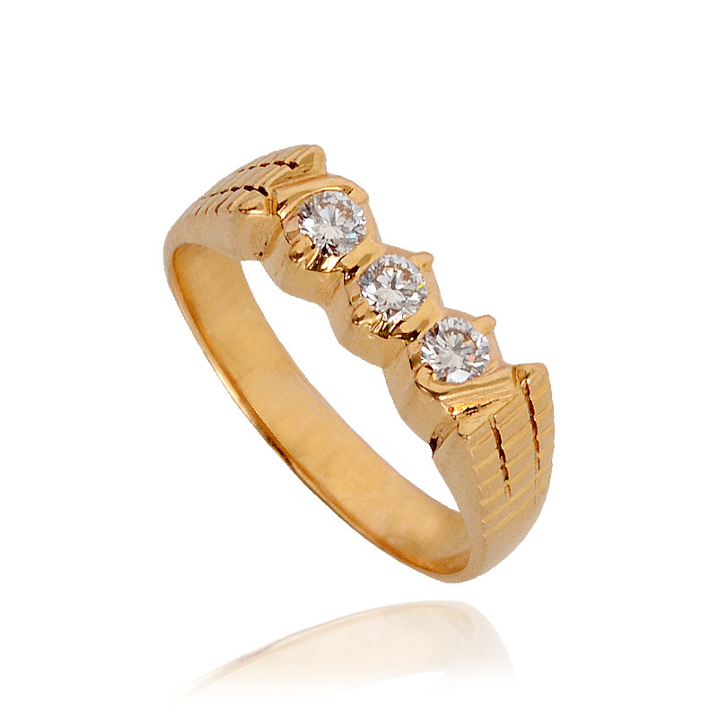 Three Stone 22Kt Gold Diamond Ring